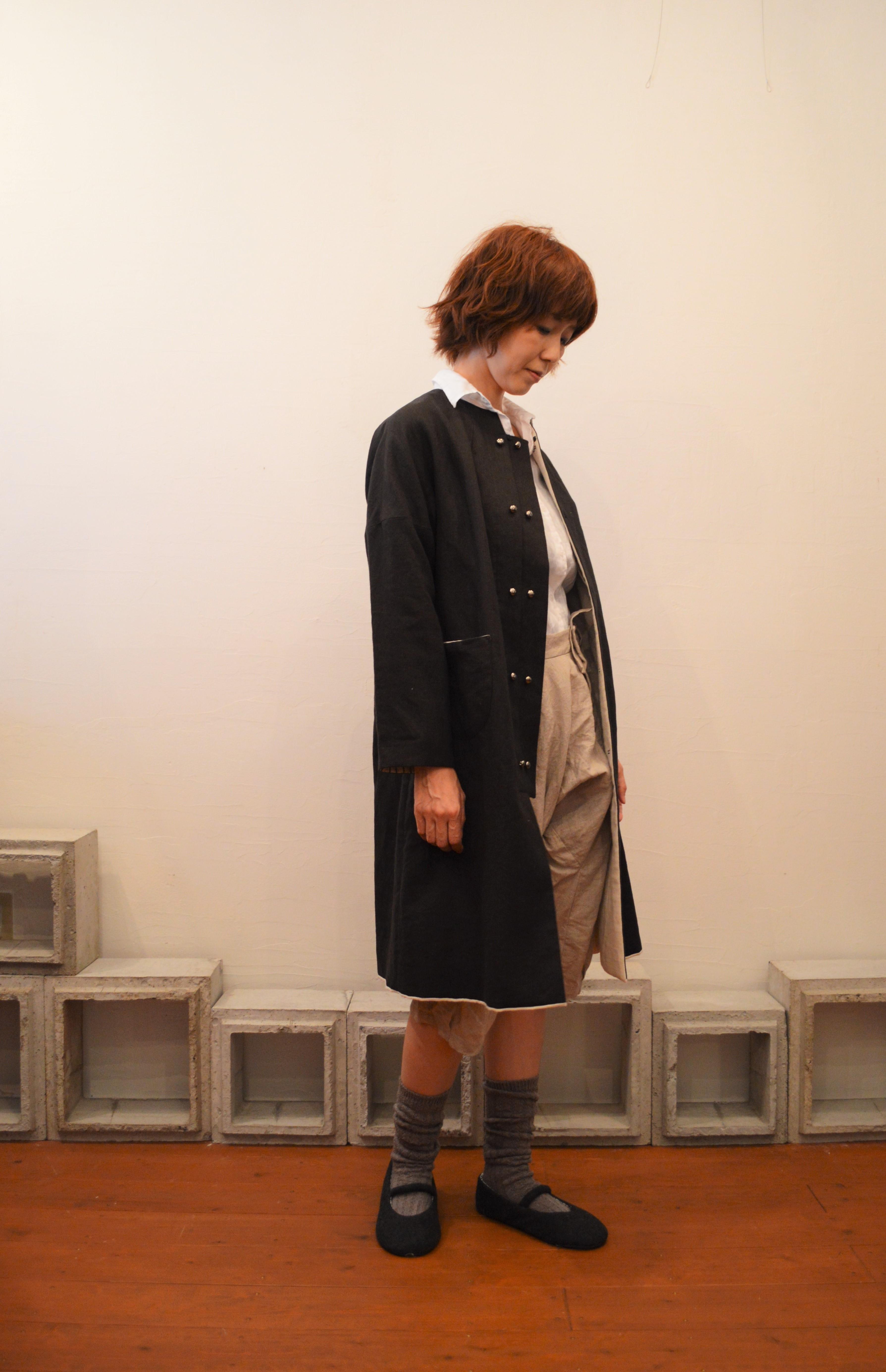 dropped shoulder linen coat